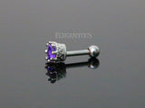 Purple CZ Crown Crystal Helix Tragus Stud