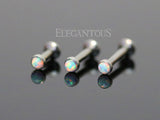 8mm Tragus Forward Helix Labret Monroe Lip Cartilage Bar Stud, White Opal Labret Stud