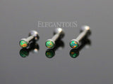 Set Of Three Green Opal Tragus Forward Helix Labret Monroe Lip Cartilage Bar Stud