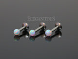 White Opal Ball Tragus Forward Helix Labret Monroe Lip Cartilage Bar Stud