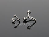 Surgical Steel Twists Ball Head Barbell, Silver Twister Barbell