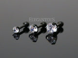3mm Crystal Cartilage Helix Earring, Black Tragus Piercing Stud | Piercing Cartilage Helix Cristal 3mm, Stud Noir