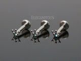 Crown CZ Cartilage Tragus Helix Ear Stud