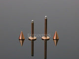 Rose Gold Spike Head Labret / Monroe / Lip / Cartilage / Tragus Stud