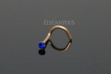 Rose Gold Nose Screw Ring, Dark Blue Crystal Nose Stud