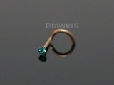 Rose Gold Nose Screw Ring, Blue-Green Crystal Nose Screw