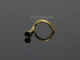 Gold Nose Screw Ring, Black Crystal Nose Stud