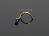 Gold Nose Screw Ring, Dark Blue Crystal Nose Stud