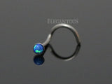 Blue Opal Nose Screw, 20G Opal Nose Stud Ring