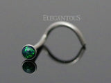 Dark Green Opal Nose Screw, 20G Opal Nose Stud Ring