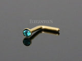 Blue-Green Crystal L Bend, Gold Nose Stud Ring