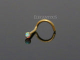 Gold Nose Stud Ring, White Opal Nose Screw