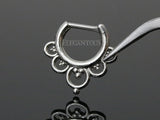 Silver Imperial Filigree Septum / Daith Clicker Piercing Ring