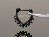 Black Beaded Septum / Daith Clicker Piercing Ring