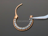 Rose Gold Round Top CZ Paved Septum / Daith Clicker Ring