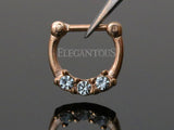 Rose Gold Three Crystals Septum / Daith Clicker Ring