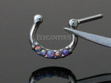 Five Tiny Purple Opal Centered Septum / Daith Clicker Ring
