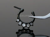 Black Pronged Crystal Septum / Daith Clicker Ring