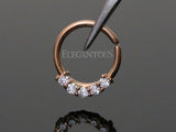 Five Crystals Rose Gold Bendable Septum / Daith / Ear Piercing Ring