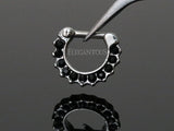 Black Crystal Paved Septum / Daith Ring, Silver Clicker Septum Ring
