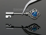 Silver Heart Blue Opal Centered Filigree Key Nipple Barbell