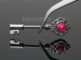 Silver Heart Pink Opal Centered Filigree Key Nipple Barbell