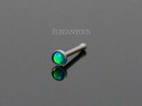 Green Opal Nose Stud Rings, 316L Surgical Steel Nose Bone
