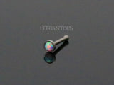 Silver Nose Stud Rings, 2mm Opal Nose Bone
