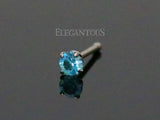 Blue Crystal Nose Stud, Prong CZ Nose Bone
