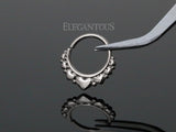 Silver Bendable Mini Multi Heart Design Septum / Daith Piercing