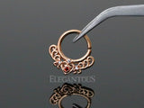 Rose Gold Bendable Filigree Heart Design Septum / Daith Piercing