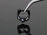 Black Heart Septum Ring, Crystal Septum Clicker Ring