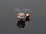 Rose Gold Crystal Paved Snow Ball Cartilage / Tragus Stud