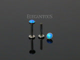 Blue Opal Press Fit Tragus Forward Helix Labret Monroe Lip Cartilage Bar Stud