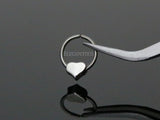Silver Annealed Bendable Cut Ring with Removable Steel Heart, Cartilage / Tragus / Helix Hoop