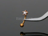 3mm Rose Gold Star Crystal Eyebrow Ring / Curved Barbell | Piercing Sourcil Or Rosé Cristal Etoile 3mm / Barbell Incurvé