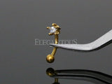 3mm Gold Star Crystal Eyebrow Ring / Curved Barbell | Piercing Sourcil Or Cristal Etoile 3mm / Barbell Incurvé