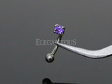 3mm Tanzanite CZ Prong Set Eyebrow Ring / Curved Barbell | Piercing Sourcil Zircone Tanzanite 3mm / Barbell Incurvé