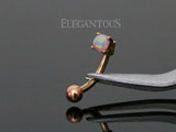 Rose Gold Curved Barbell, 3mm White Opal Eyebrow Ring