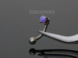3mm Purple Opal Eyebrow Ring / Curved Barbell | Piercing Sourcil Opale Violette 3mm / Barbell Incurvé