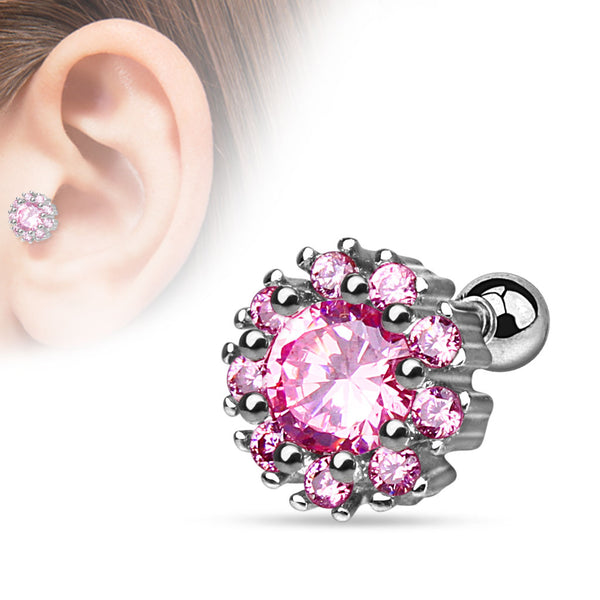Flower Prong Sparkle Cartilage Tragus Barbell