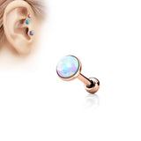 3mm Rose Gold Cartilage Helix Tragus Opal Barbell, Opal Sparkle Cartilage Earring | Piercing Helix Tragus Barbell Or Rosé Opal 3mm, Opale Eclatante