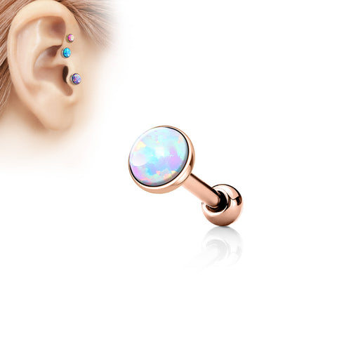 5mm Rose Gold Cartilage Helix Tragus Opal Barbell, Opal Sparkle Cartilage Earring | Piercing Cartilage Or Rose Helix Barbell Opale 5mm, Opale Eclatante
