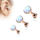 20% OFF, Set Of Three Sizes White Opal Top Rose Gold Cartilage / Helix / Tragus / Barbell | REMISE DE 20%, Pack de 3 tailles Opale Blanche Or Rosé Cartilage / Helix / Tragus / Barbell