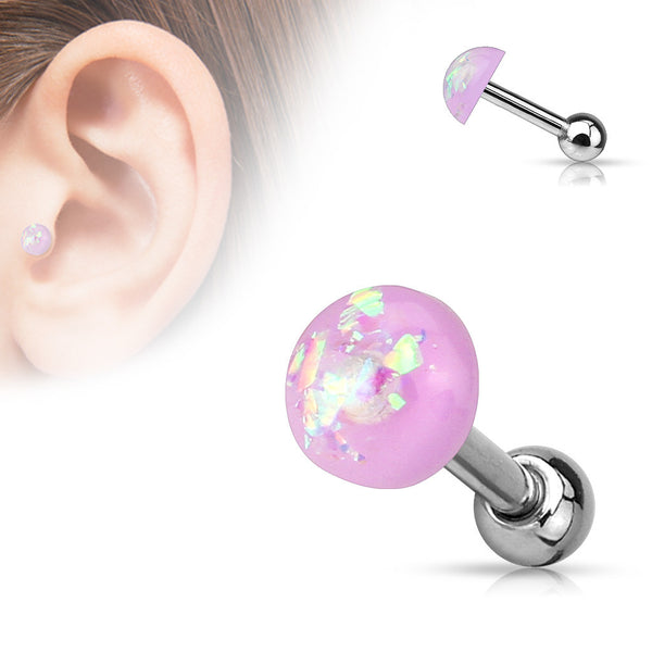 Purple Opal Cartilage Helix Tragus Barbell, Opal Sparkle Earring