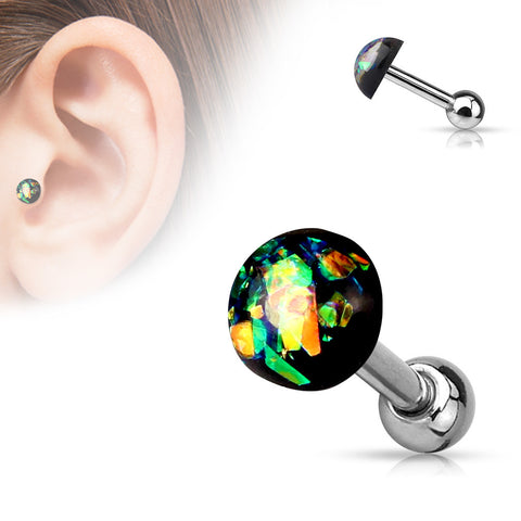 Black Opal Cartilage Helix Tragus Barbell, Opal Sparkle Earring