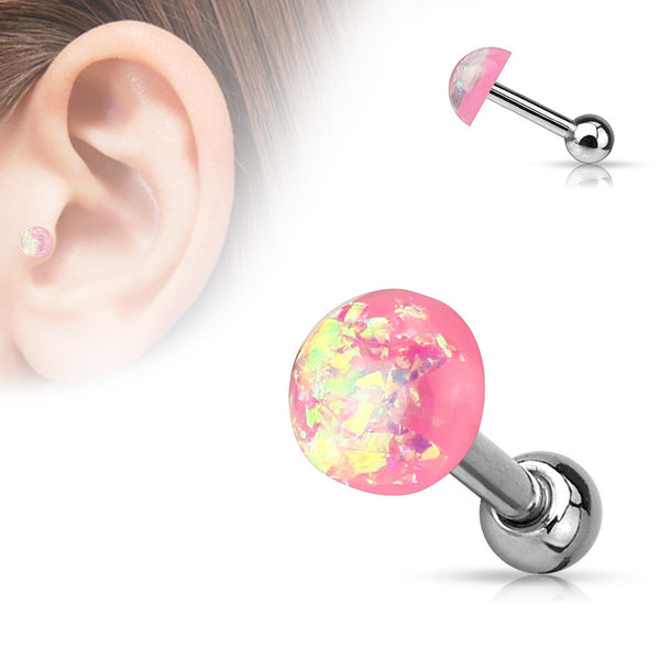 Pink Opal Cartilage Helix Tragus Barbell, Opal Sparkle Earring