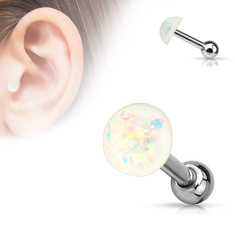 White Opal Cartilage Helix Tragus Barbell, Opal Sparkle Earring