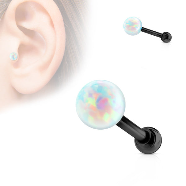 Black Opal Ball Cartilage Helix Tragus Piercing Stud, White Opal Conch Stud