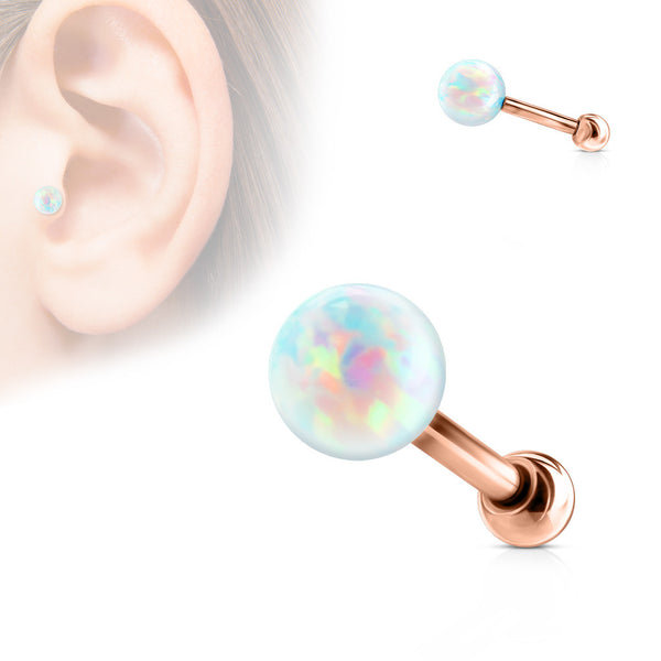 Opal Ball Cartilage Helix Tragus Piercing Stud, Rose Gold Conch Stud